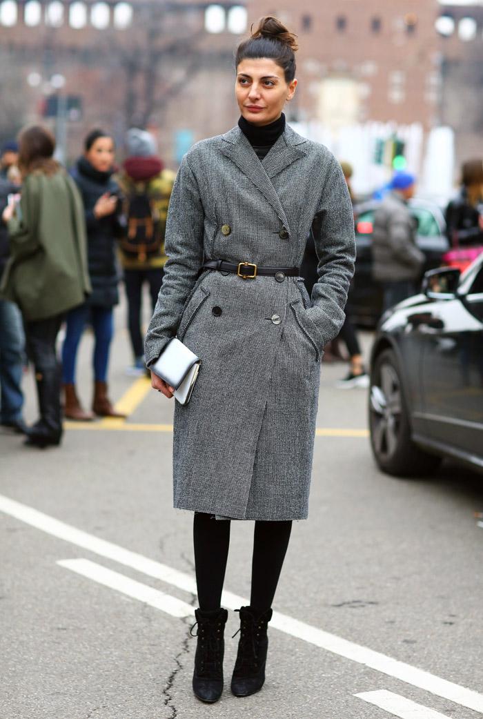 Giovanna Battaglia Grey Coat In Milan Street Fashion Street Peeper Global Street Fashion