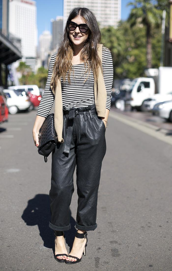 Sydney Leather Pants Street Fashion Street Peeper
